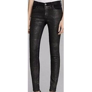 Current Elliott Blk Coated SnakePrint Skinny Jeans